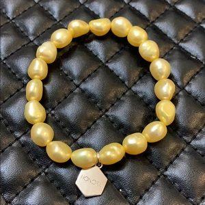 Honora Barque Lemon Yellow Pearls Stretch Bracelet